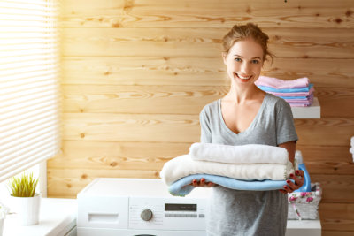 caregiver doing the laundry
